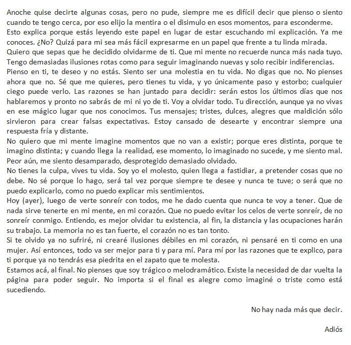 cartas de despedida de amor  choco  Carta despedida amor