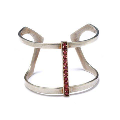 Sterling silver Licol harness cuff with pave rhodolite garnet center bar. Sterling silver and garnet
