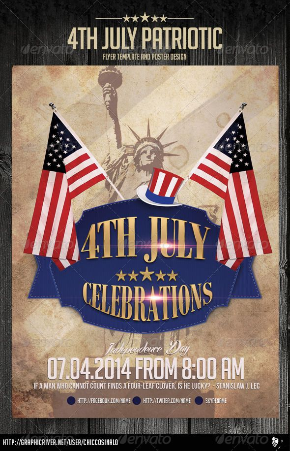 4th july patriotic flyer template by chiccosinalo 4th july