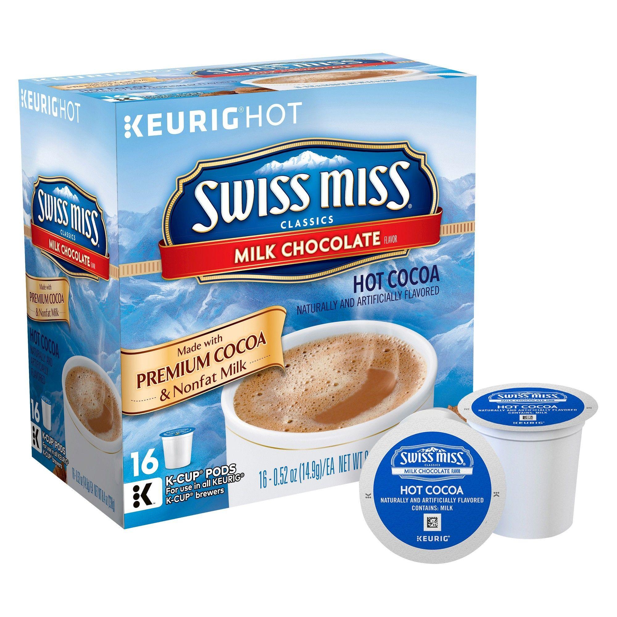 Swiss Miss Milk Chocolate Hot Cocoa Keurig K Cup Pods 16ct Hot Cocoa Swiss Miss K Cup Flavors