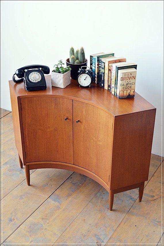 SOLD SOLD SOLD Mid Century Teak Corner Unit Sideboard Curved Plasma - Mid century modern corner table