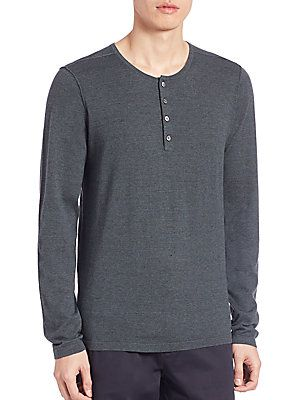 Vince Sporty Jaspe Mix Stitch Henley Tee