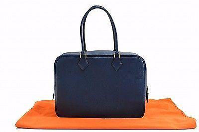5ab4da9b394a Auth-Excellent-HERMES-Pruem-32-Couchevel-Leather-Z-Hand-Bag-Blue-Dust-Bag -18949