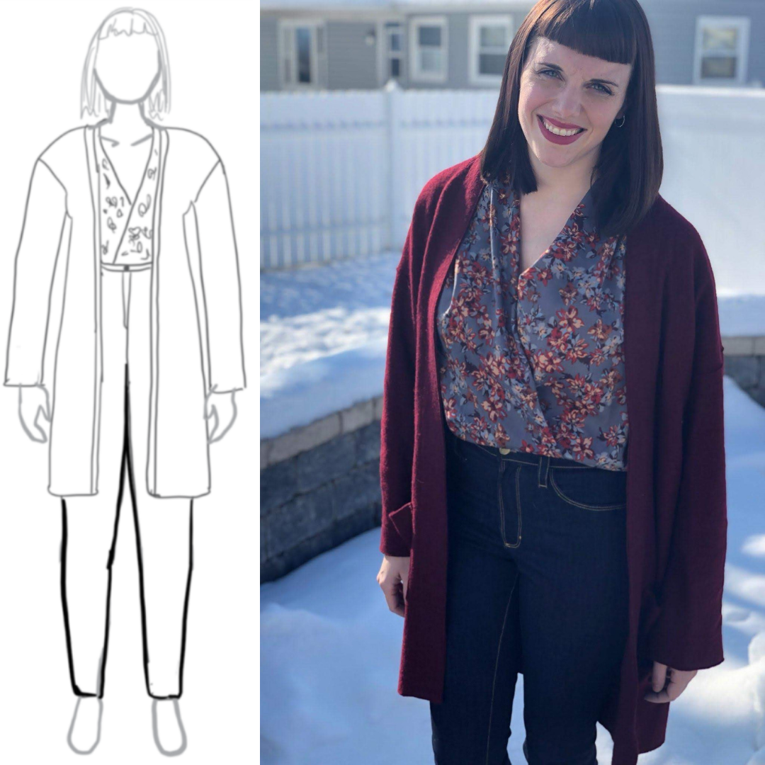 8bba55c29995 My Body Model Sketch to Finished! Sarah drew her fall winter sewing ...