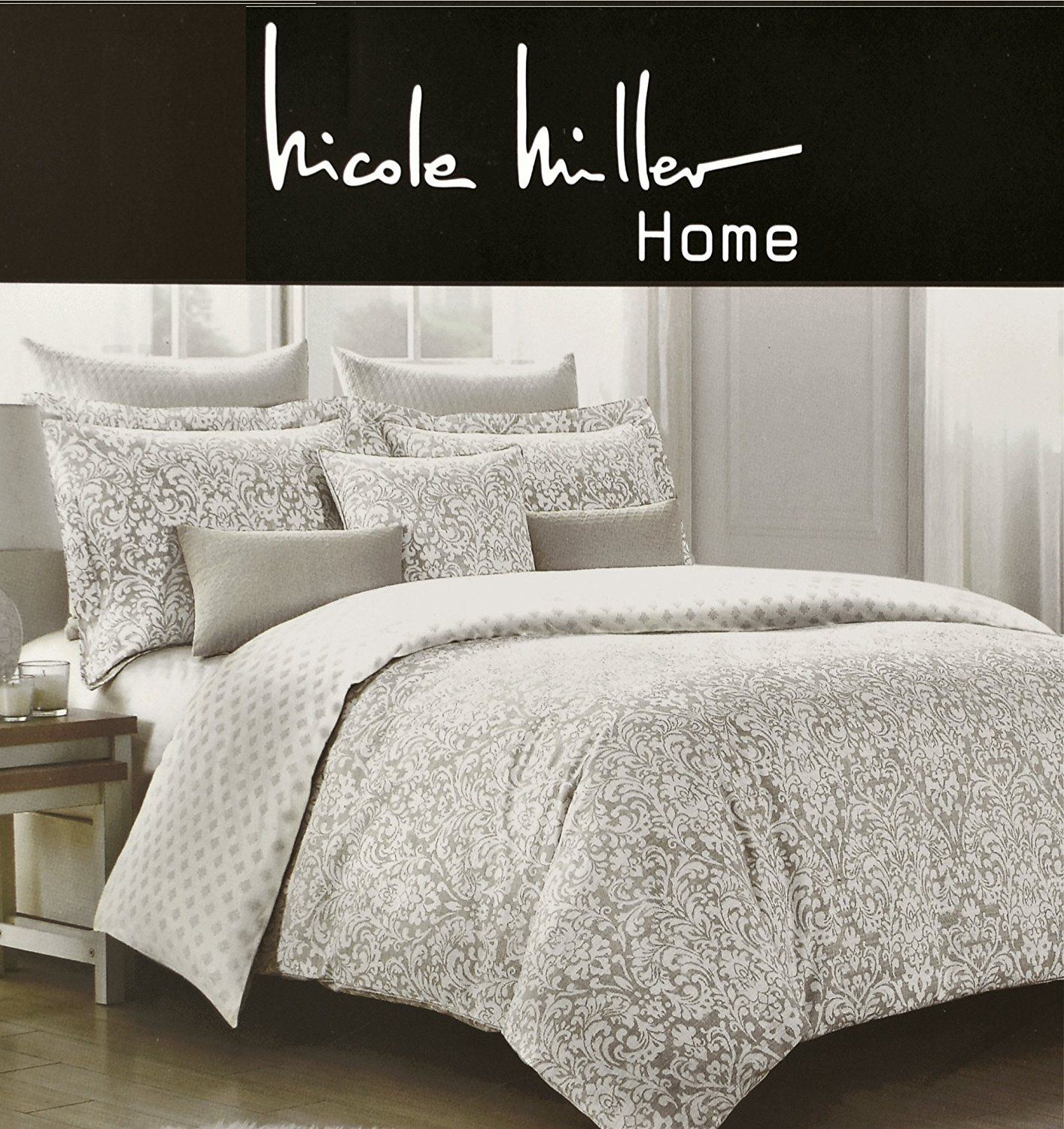 Amazon Com Nicole Miller Home Full Queen Duvet Cover And Shams Set Gray Taupe Paisley Moroccan Medallion Print H Queen Duvet Covers Queen Duvet Miller Homes