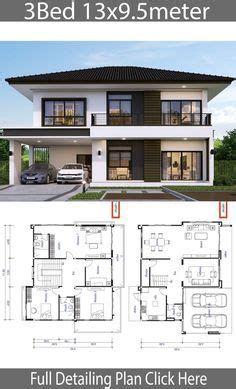 House Design Plan 8.5x9.5m With 4 Bedrooms  hausdesign