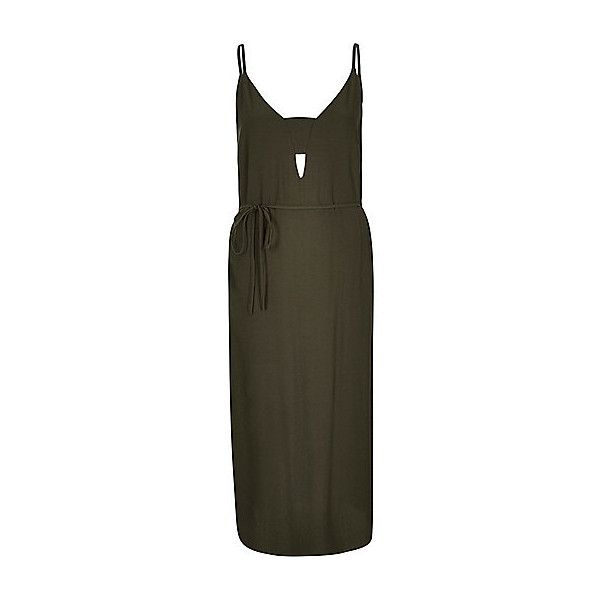 Khaki slip midi dress - Robes t-shirt et robes de jour - robes - femme (220 BRL) ❤ liked on Polyvore featuring dresses, khaki dress, mid calf dresses, calf length dresses, midi dress and midi slip dress