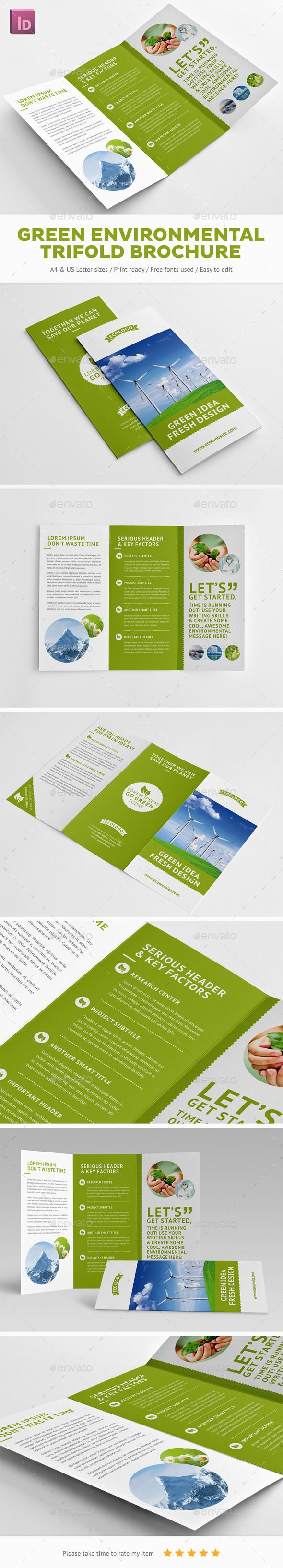 Green Environmental Trifold Brochure  Print Templates Brochures