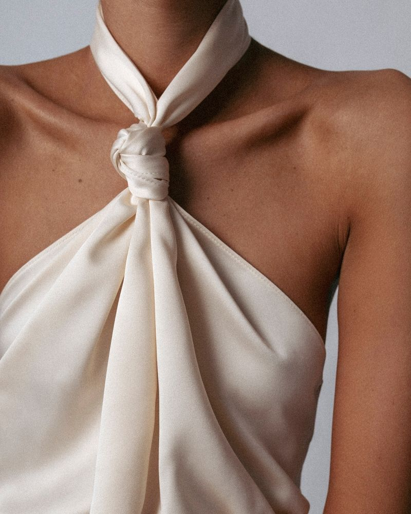 dress with knot detail in milk — namelazz | fashion, fashion