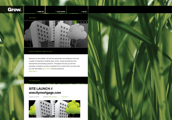 I like how the menu detaches from the header, which then stays and frames the content: http://growmedia.ca