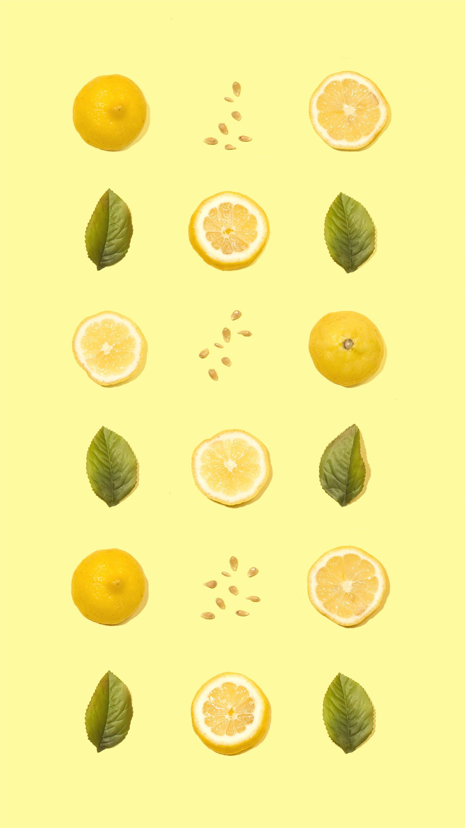 Yellow Lemons Pattern Amy Shamblen Iphone Wallpaper Yellow