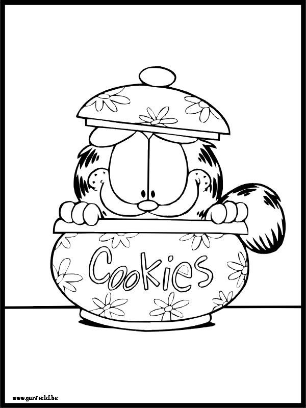 Garfield Cookie Jar Coloring Page