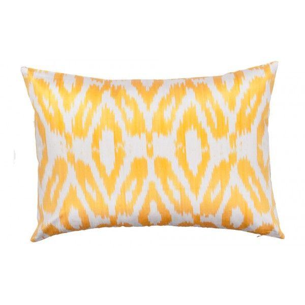 Langliches Ikat Kissen Aus Seide Gelb Khodai Handmade Carpets