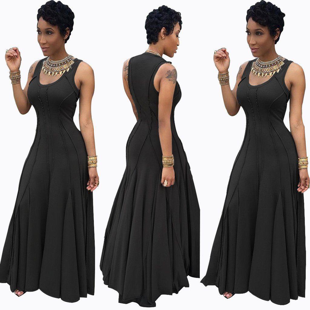 Scoop sleeveless solid highwaist pleated long dress gray green