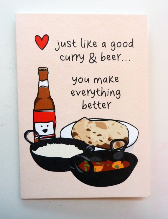 Funny Indian Foodinspired Greetings Card Curry & Beer