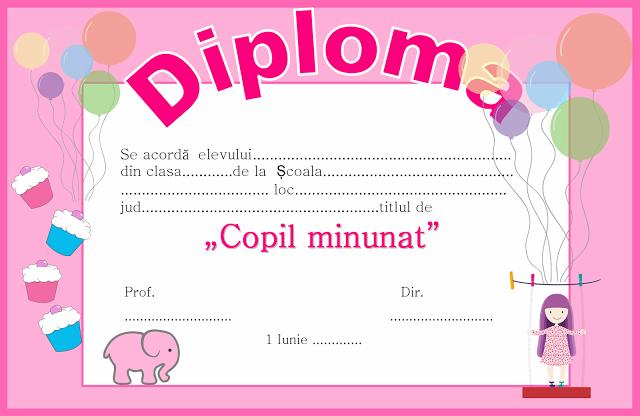 Diploma Pentru 1 Iunie Ziua Copilului Activități