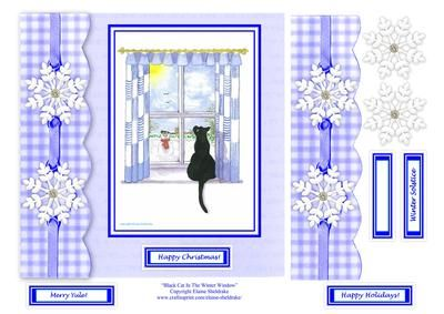 Black Cat In The Winter Window 8 x 8 Decoupage Card Topper on Craftsuprint designed by Elaine Sheldrake - Featuring one of my water colour paintings. This one depicts the view of the garden in Winter as seen by the black cat. There are four in this series... Summer, Autumn, Winter