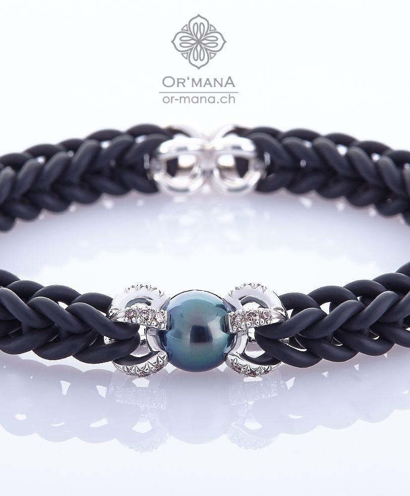 Luxus Kautschuck Diamant Armband mit TahitiPerle. Preis