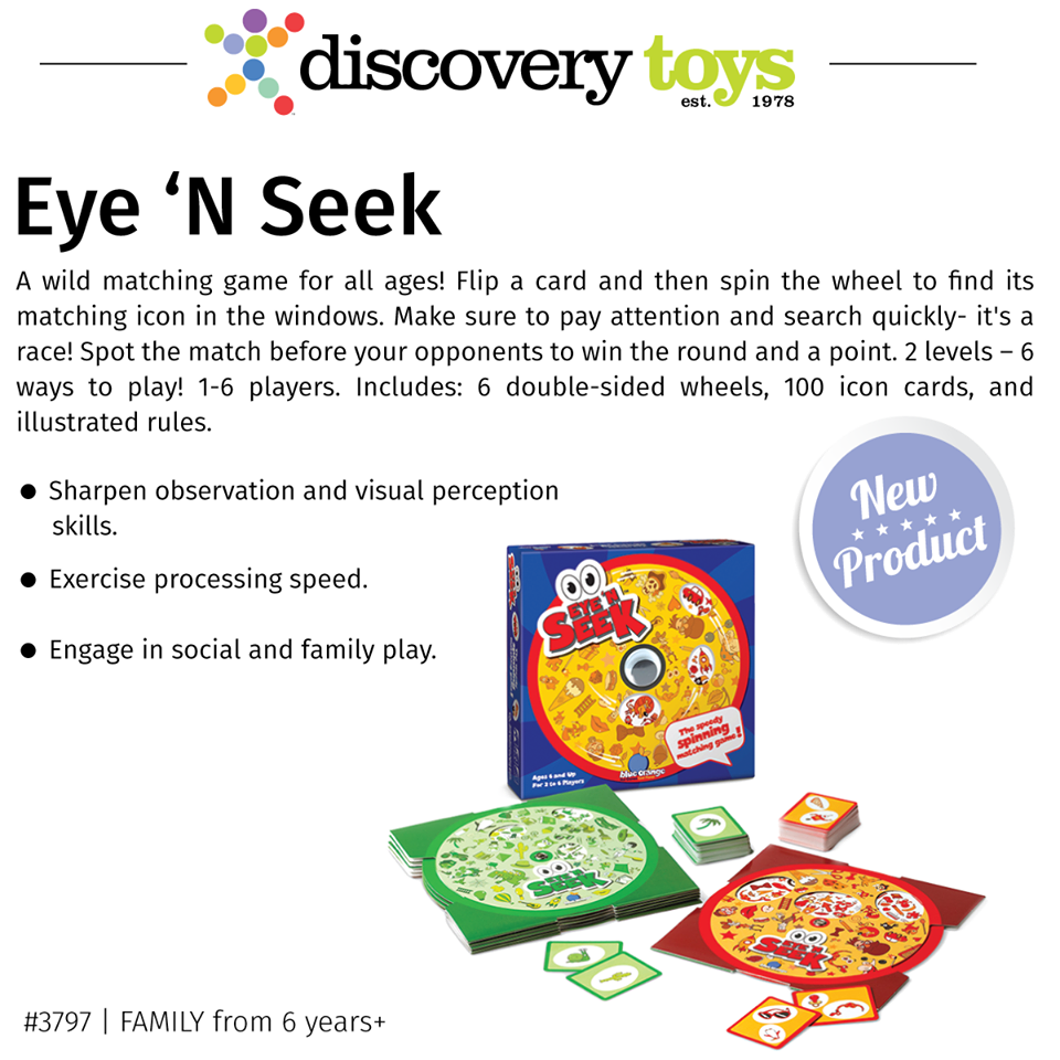 Eye N Seek A Wild Matching Game For All Ages Flip A Card And Then Spin The Wheel To Find Its Matching Icon In The Discovery Toys Matching Games Discovery