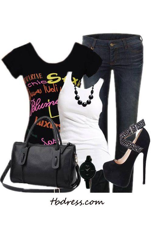 #Fashion #T-shirt #Tops #Beauty #Clothing #Women Clothes on tbdress.com.