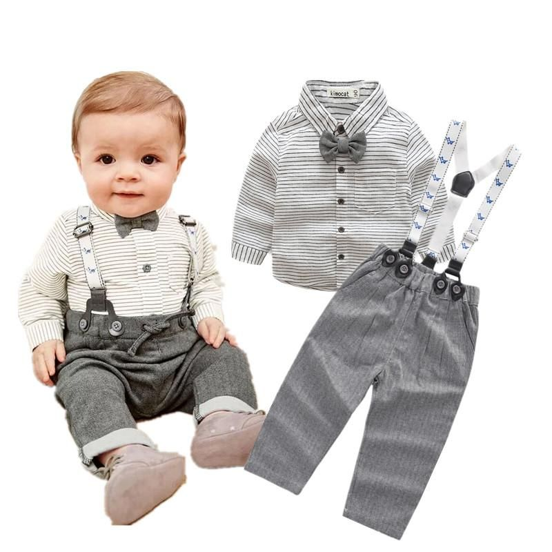 Natural Linen Baby Boys Gentleman 1st Birthday Outfits Suits Overalls Clothes