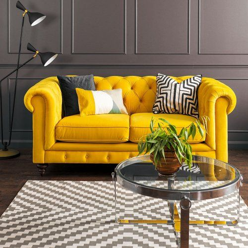 monty two seat sofa  mustard with images  living room