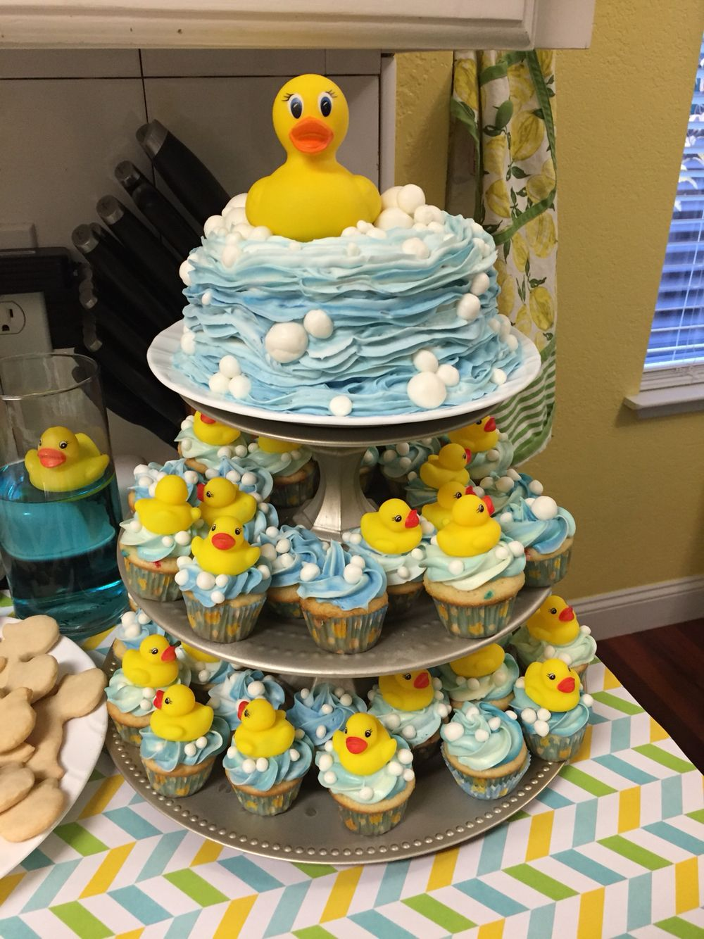 Rubber Ducky First Birthday Bubbles Are White Fondant Baby