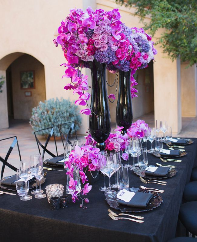 Tall Black Trumpet Vases April Smith Photography Kelsey Events Blog Theknot