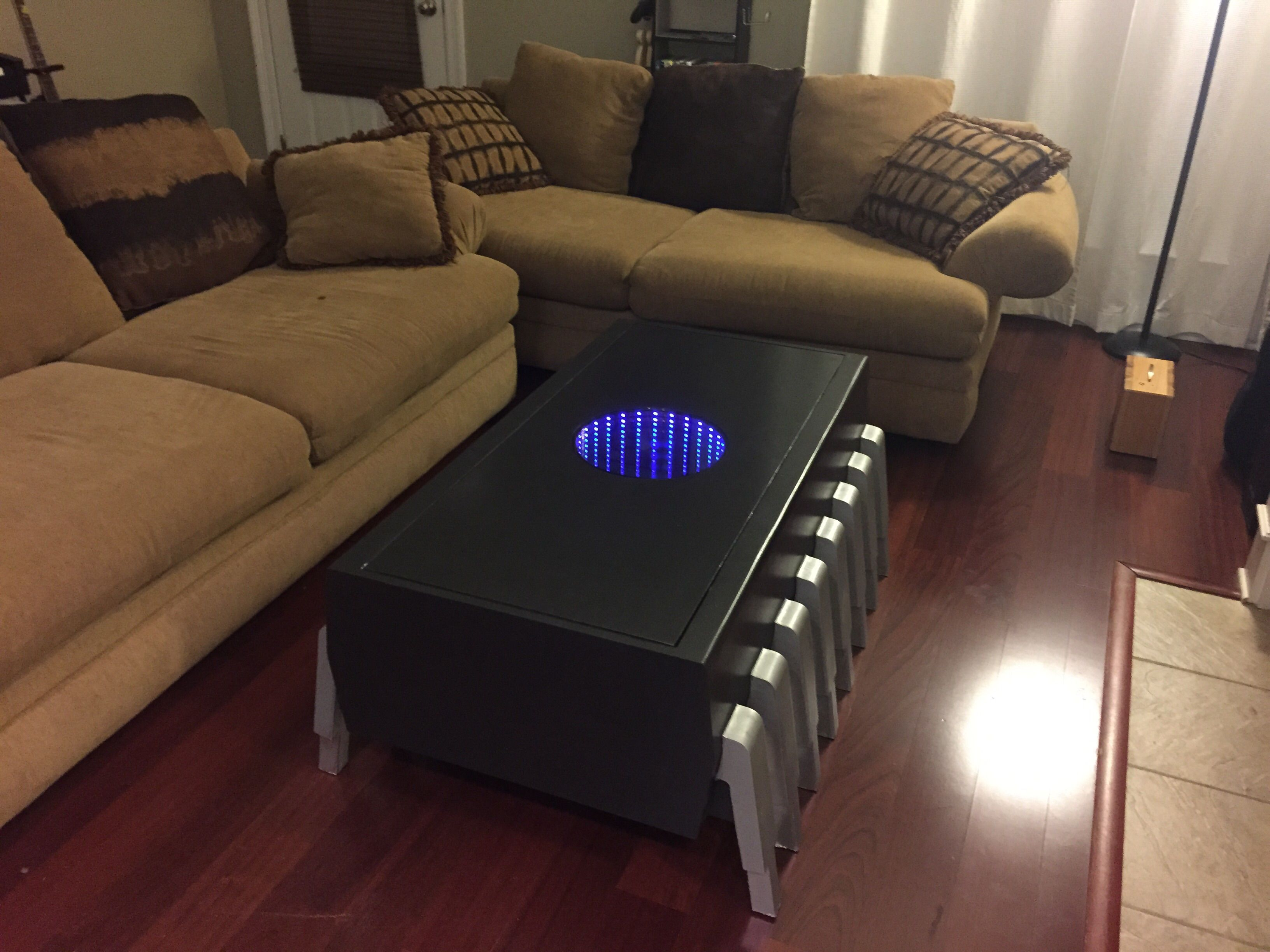 A Memory Chip Coffee Table With An Illuminated Infinity Screen Cool Coffee Tables Antique Mirror Coffee Tables Square Mirrored Coffee Table [ 2448 x 3264 Pixel ]