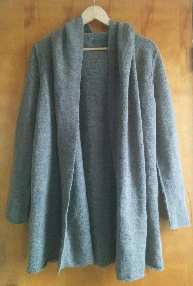Vince Hooded Open Front Sweater Jacket wool alpaca long cardigan ...