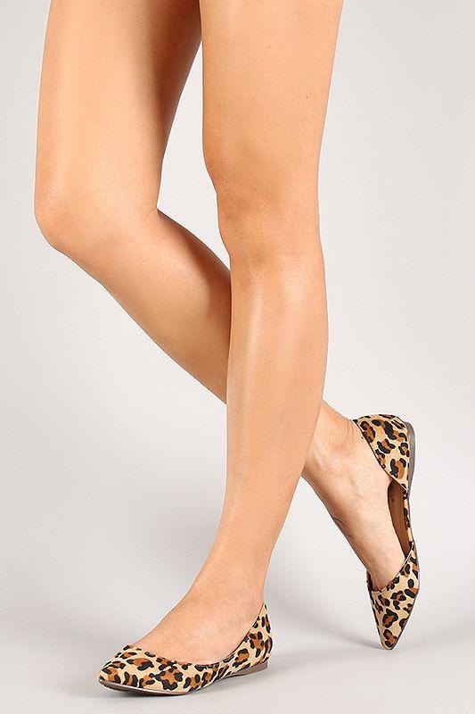 d1f63c284ce Breckelle Faux Suede Leopard Pointy Toe Ballet Flat | Style in 2019 ...