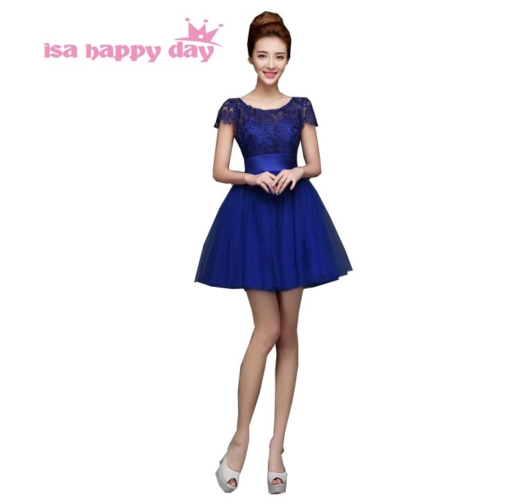 2017 new design sexy tulle fancy hot formal knee length royal blue ...