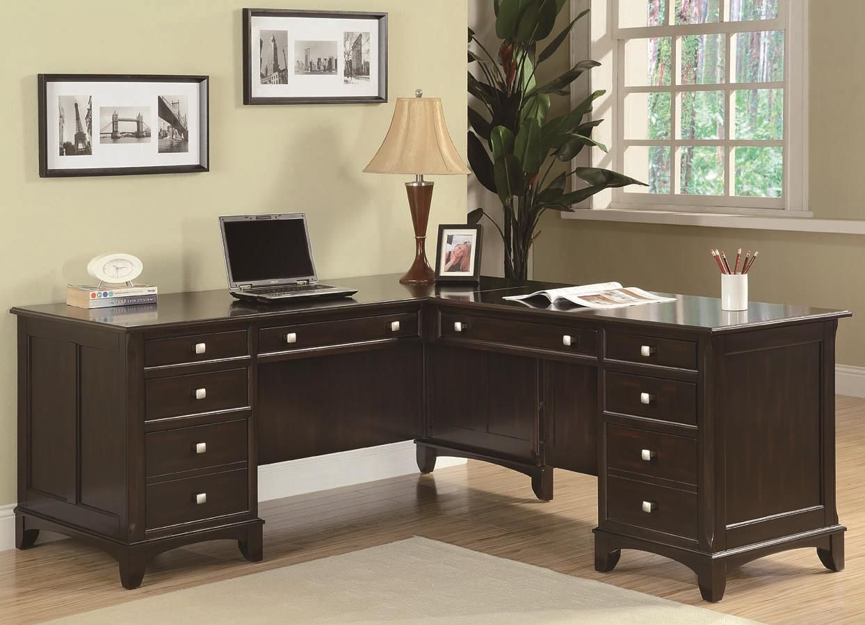 Garson L Shaped Desk With 8 Drawers Leasing Office