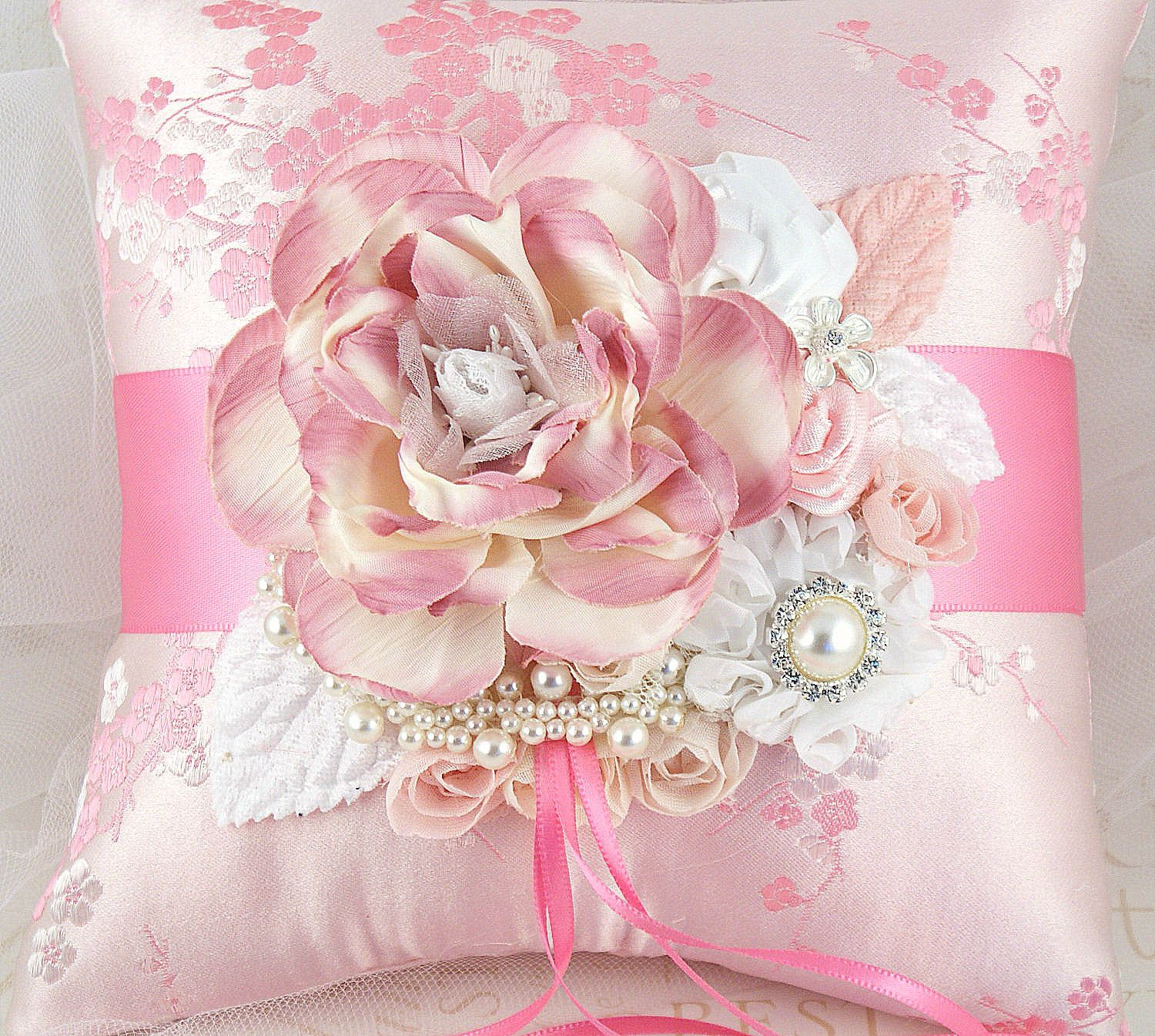 Bridal Ring Bearer Pillow in Pink, White and Cream with Embroidered ...
