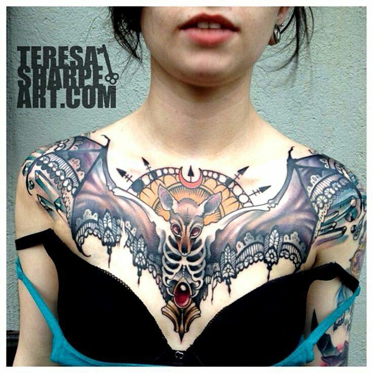 Bat Chest Piece Teresa Sharpe Chest Piece Tattoos Chest Tattoo Bat Tattoo