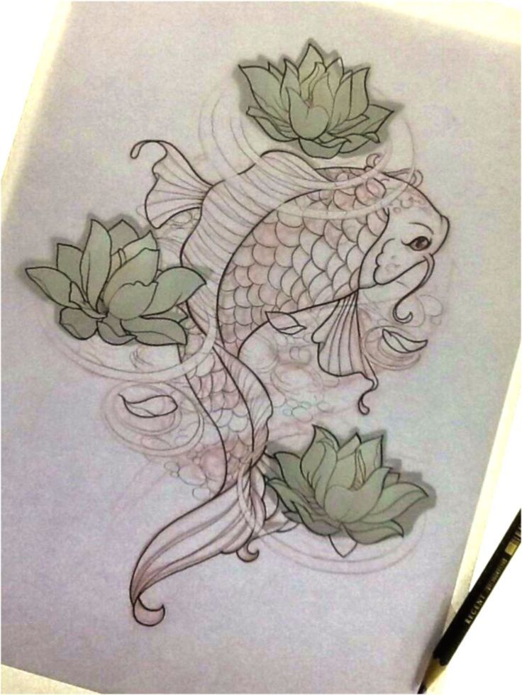 Fish in a pond sketch google search beautiful for Koi pond tattoo