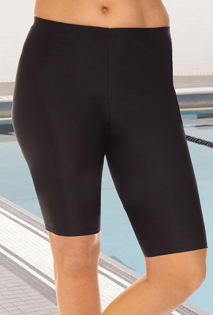163f96f07a72d Aquabelle Chlorine Resistant Black Long Bike Short. Shorts Swimsuits Swim  Bottoms, Plus Size ...