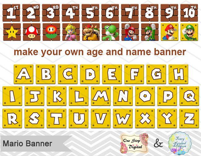 Printable Super Mario Banner Printable Super Mario Inspired