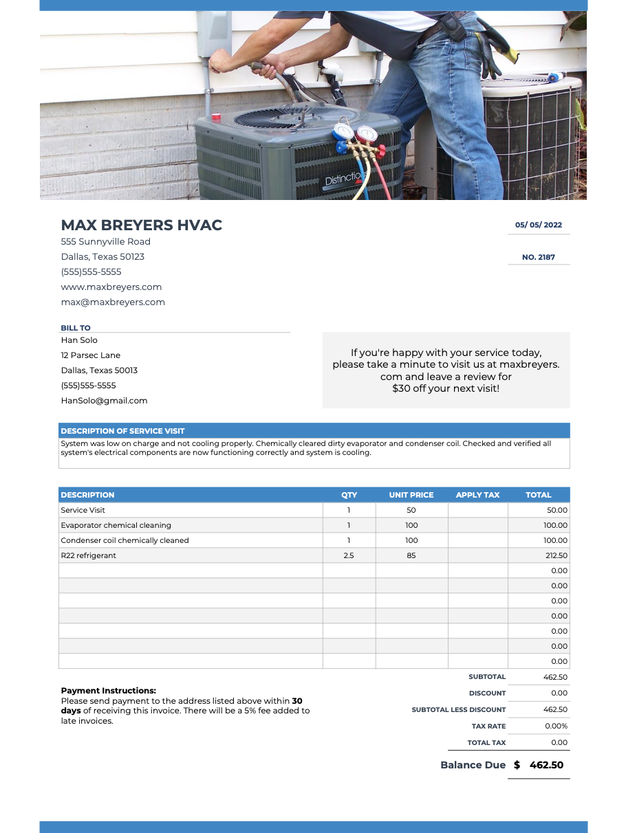 Hvac Invoices Templates Free Tips A Handy App Hvac Template Free Appliance Repair