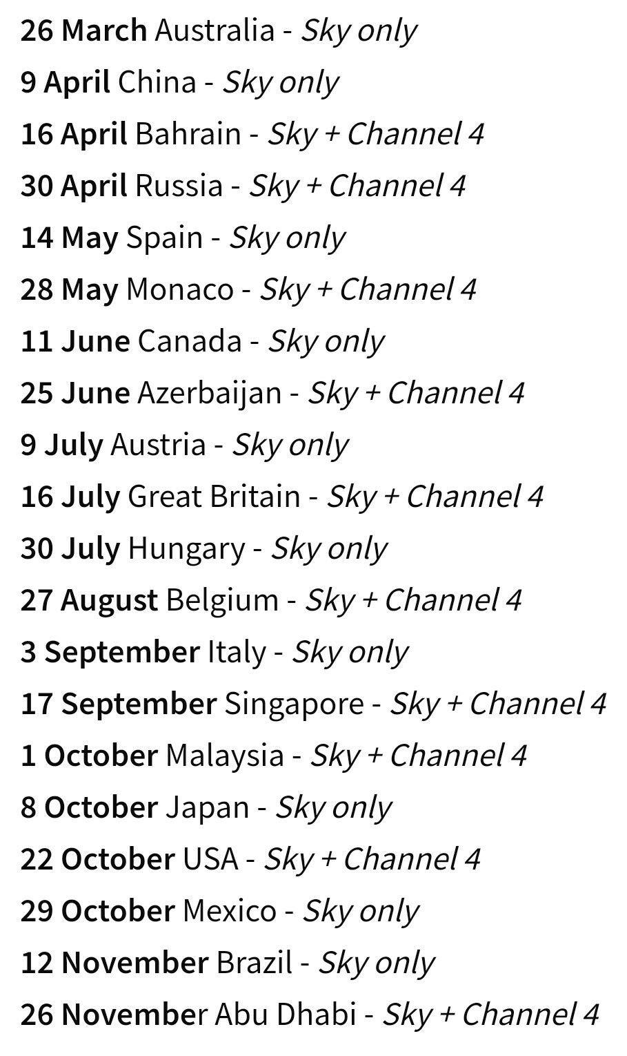 2017 F1 viewing schedule Sky t, 26 march, 25 june