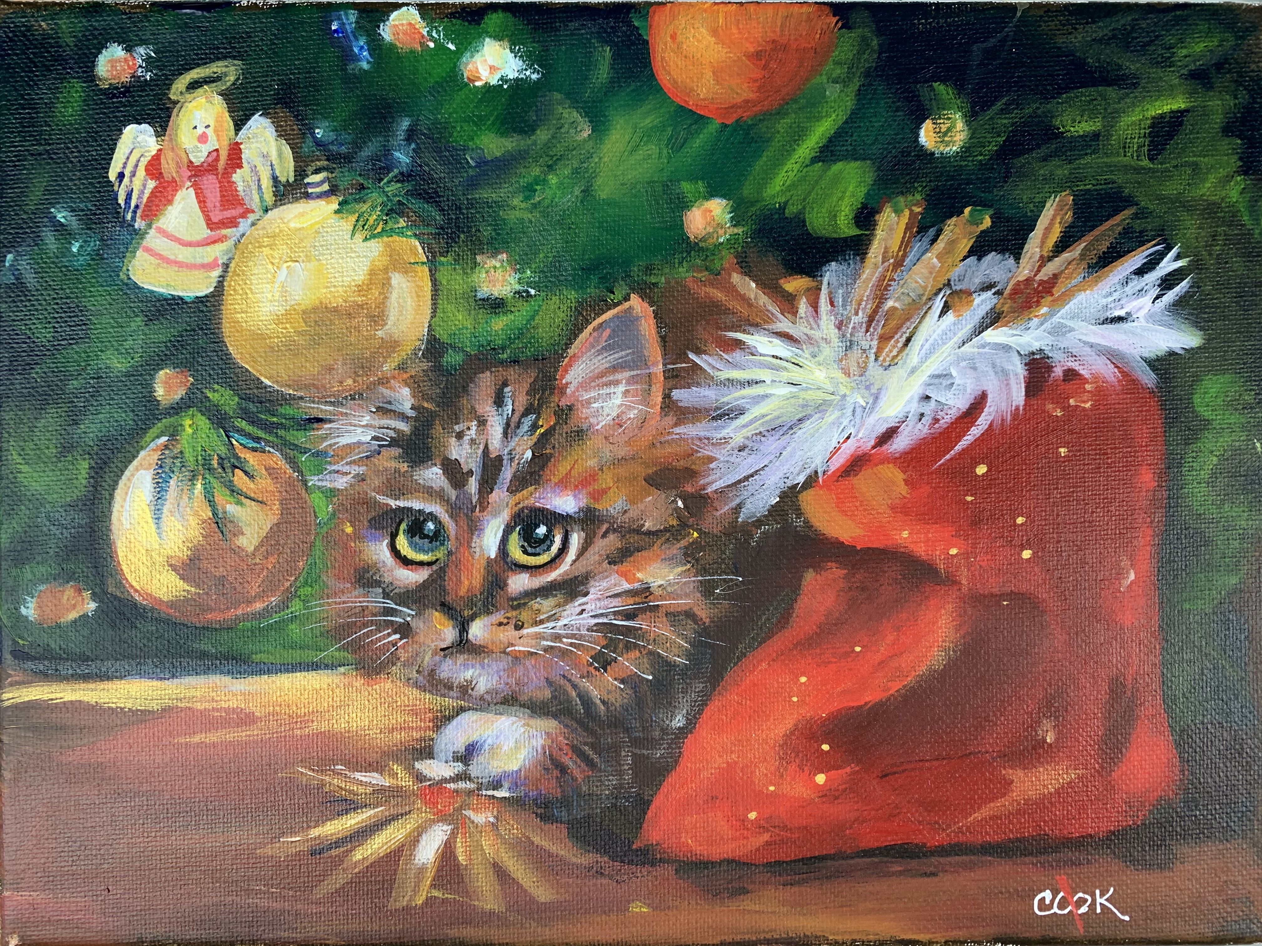 How To Paint A Christmas Kitten Youtube Acrylic Painting Tutorial