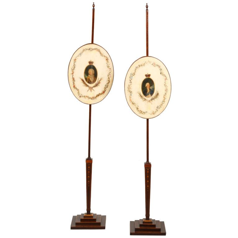 PAIR OF GEORGE III POLESCREENS | From a unique collection of antique and modern screens at http://www.1stdibs.com/furniture/more-furniture-collectibles/screens/