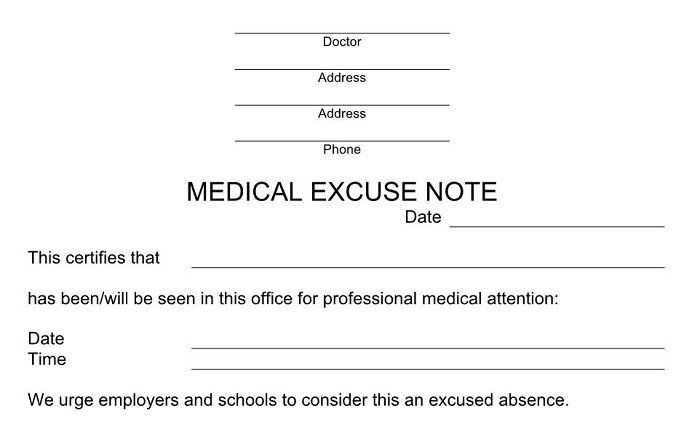25  free doctor note    excuse templates  u1405