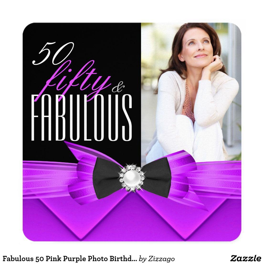 Fabulous 50 Pink Purple Photo Birthday Party Card Black And White Elegant Modern Stylish 50th