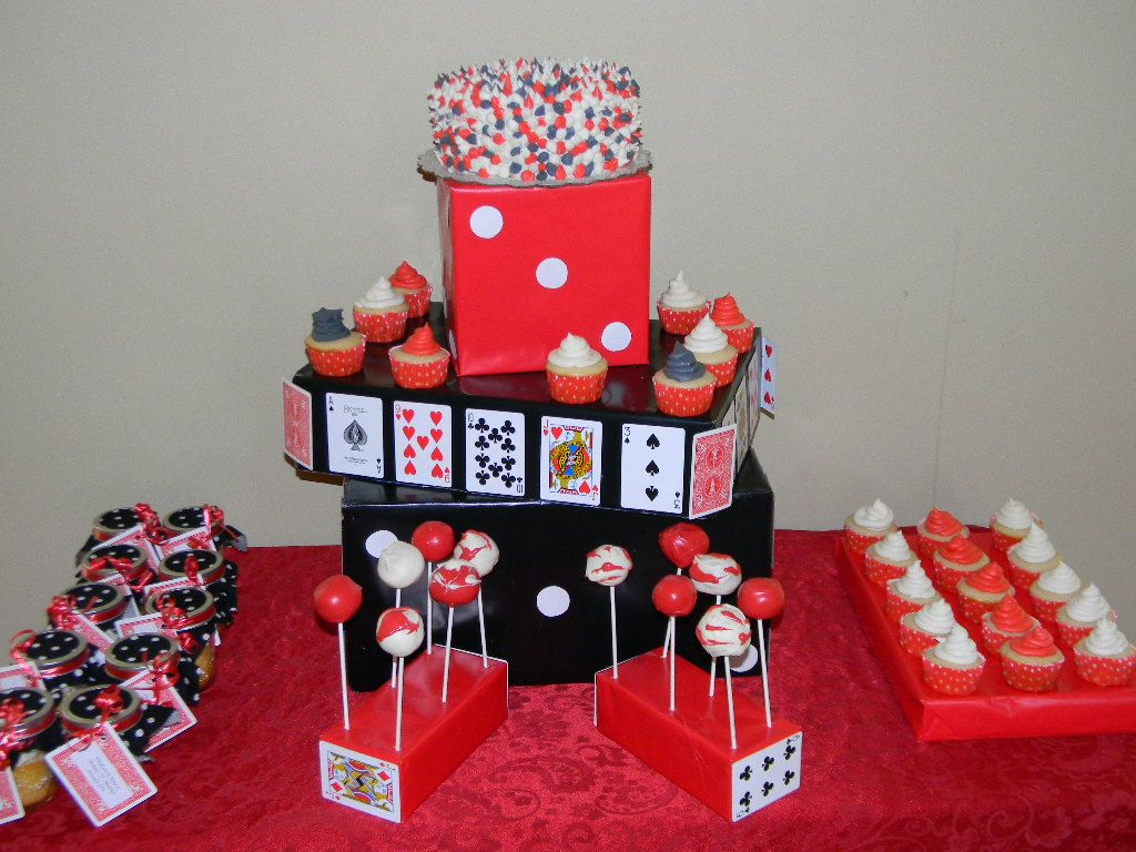 casino party butter scotch shop baking company casino theme dessert table - Casino Party Decorations