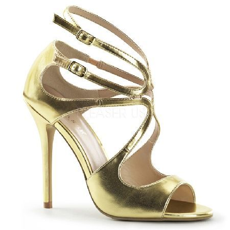 Pleaser Shoes Amuse-15 Metallic Gold Strappy Stunning metallic gold sandals with waving design, peep toe, straps on the instep and double ankle strap with adjustable size and metallic buckle closures on the exterior side. The 5 inch (12.5 cm) st http://www.MightGet.com/january-2017-12/pleaser-shoes-amuse-15-metallic-gold-strappy.asp