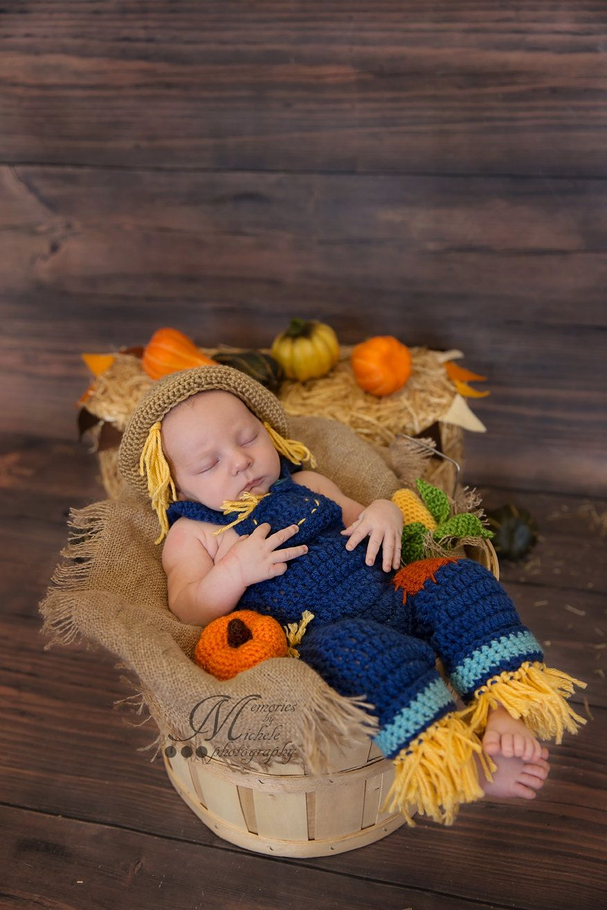 Photo of Instant Download PDF Crochet Newborn Scarecrow Hat and Overalls with Amigurumi Pumpkin and Corn, Baby Photo Prop Outfit, Halloween Costume