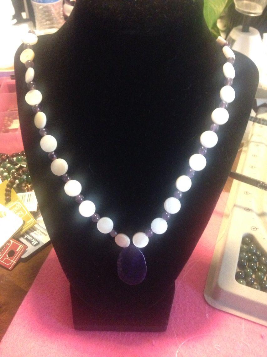 Amethyst and shell with Agate  necklace 18 inches. http://etsy.com/shop/AngelTouchedJewelry