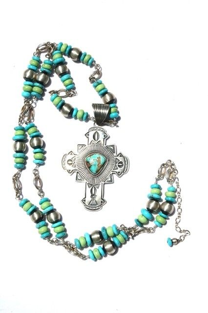 Unique! Silver Creations Sterling Necklace and Turquoise Cross Pendant!