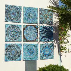 Kitchen Wall Decor Tiles Garden Decor  Outdoor Wall Art Made From Ceramic  Set Of 9